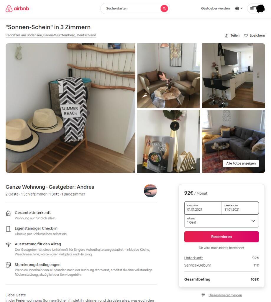 Monatsmiete von 103€ in Radolfzell | 3 Zimmer Wohnung als Ferienwohnung [Preisfehler]