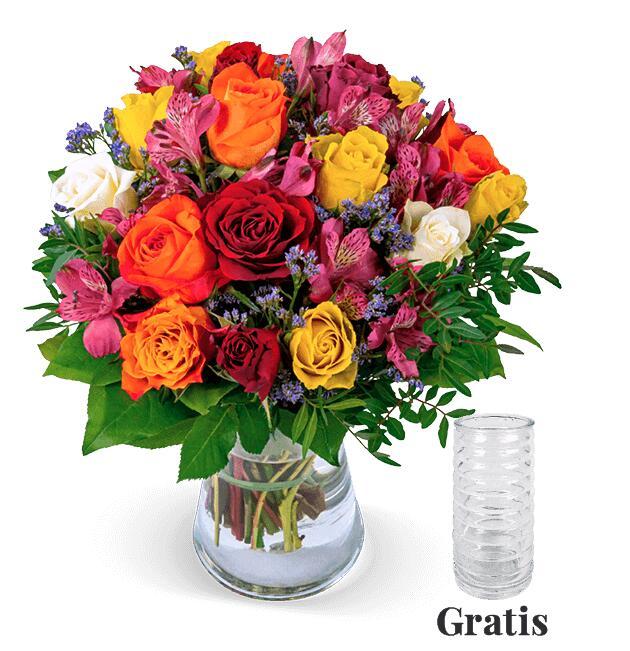 5€ Rabatt auf alles bei [Blume Ideal] z.B. herbstlicher Rosenstrauß 'Farbtraum' inklusive Vase und Versand