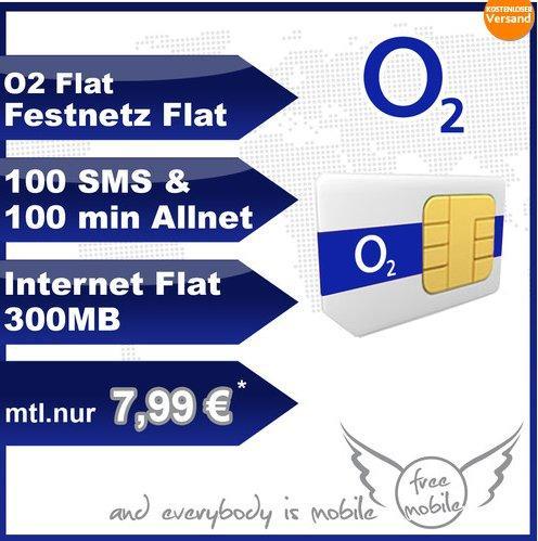 O2 Blue S - Festnetz/O2/Internet-Flat + 100 Min + 100 SMS für 7,99 Euro