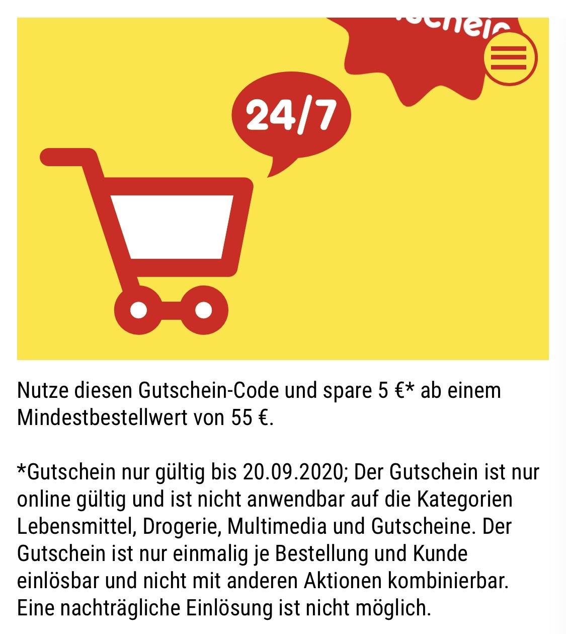 Netto Onlineshop Gutschein 5€ ab 55€ MBW