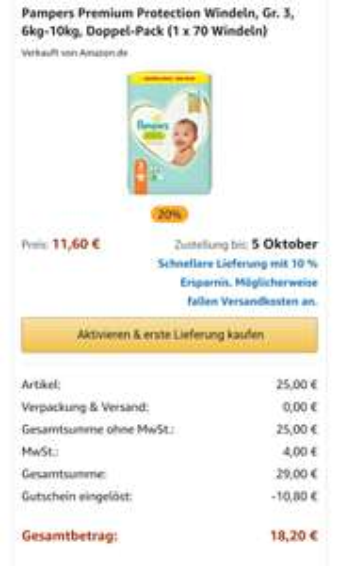 Amazon Prime Sparabo Pampers Premium Protection Größe 3 - 5 / 140 - 102 Stück