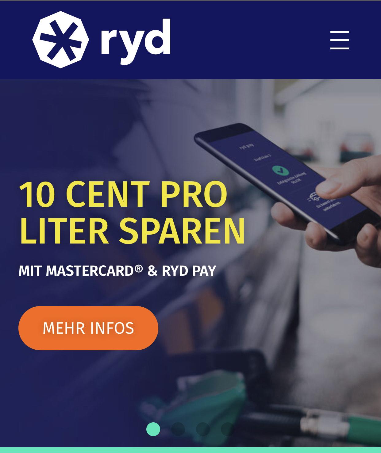 ryd pay & Mastercard - 10 Cent pro Liter beim Tanken sparen *Neukunden*