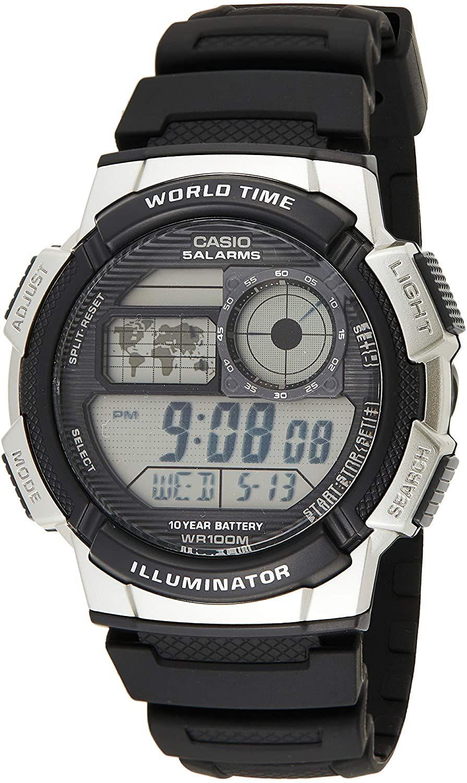 Casio Collection AE-1000W-1A2VEF digitale Herren-Armbanduhr (44 mm, Kalender, Weltzeit, Stoppuhr, Timer, beleuchtet, wasserdicht bis 10 bar)