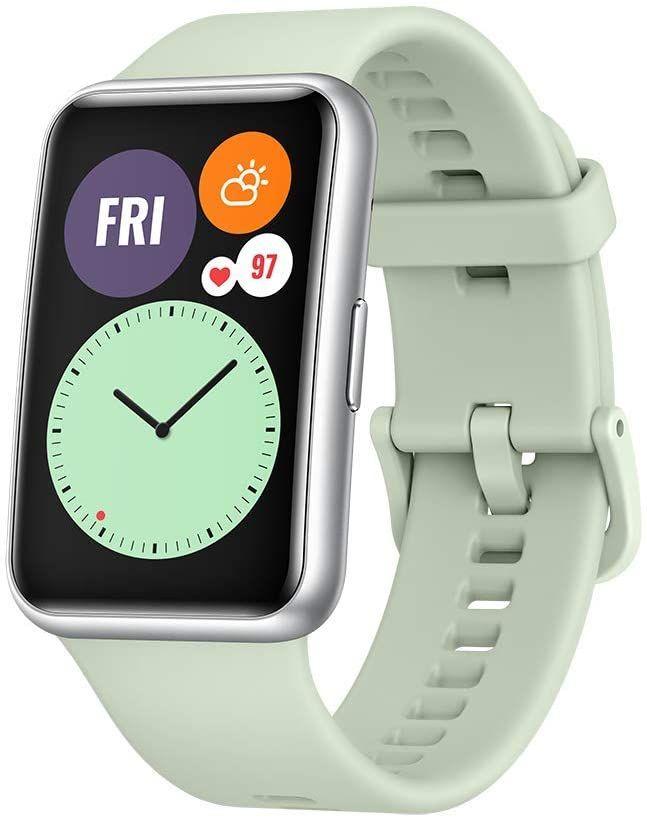 "Huawei Watch Fit - 1,64"" AMOLED Smartwatch (10 Tage Akku, 96 Trainingsmodi, GPS, 5ATM, SpO2-Sensor, Puls, für Android & iOS) Mint Green"