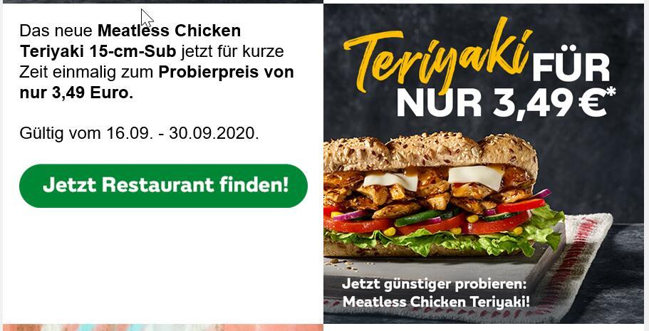 [Subway] Meatless Chicken Teriyaki plus 100 Extrapunkte