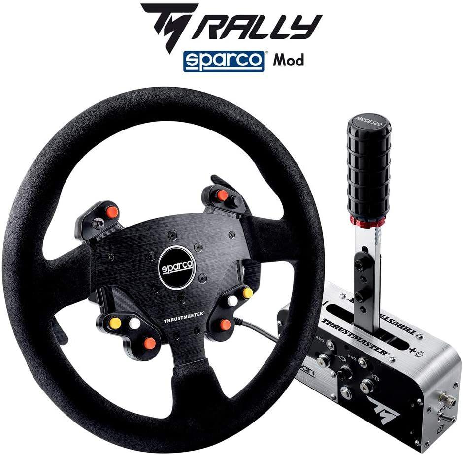 Thrustmaster TM Rally Race Gear Sparco Mod (Rallye-Lenkrad AddOn, 33 cm, Wildleder, Handbremse, Schalthebel, PS4, Xbox One & PC)