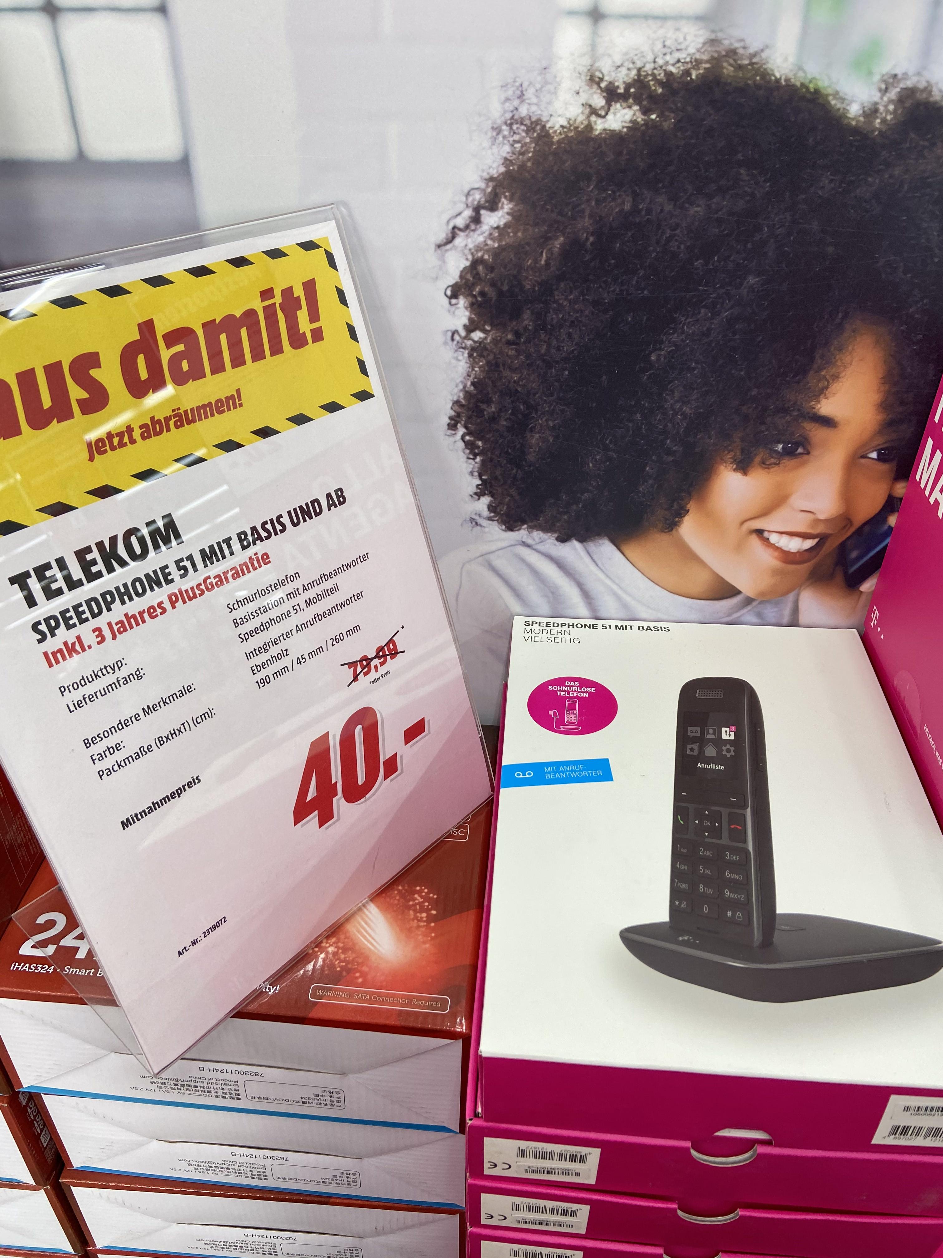 Lokal MEDIA MARKT in EMMENDINGEN - Telekom Speedphone 51 mit Basis und Anrufbeantworter