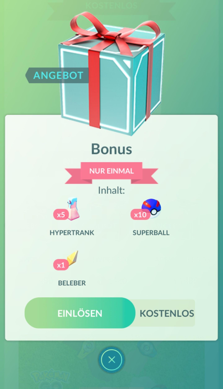 Pokémon Go 5 Hypertränke, einen Beleber und 10 Superbälle kostenlos