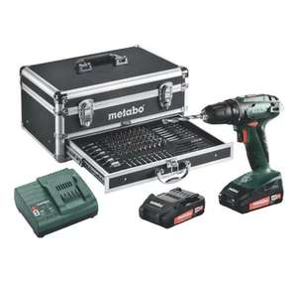 Metabo Akku Bohrschrauber BS 18 Set (18V max. 48Nm, inkl. 2x 2,0 Ah Akkus, Ladegerät und Koffer mit 100tl. Zubehör, 3 J. Garantie)