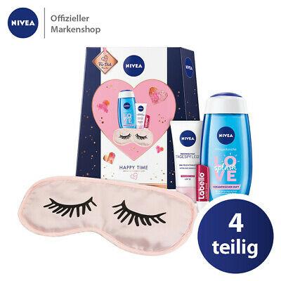 NIVEA Happy Time Geschenkset 4tlg. Schlafmaske, Tagespflege, Duschgel & Labello