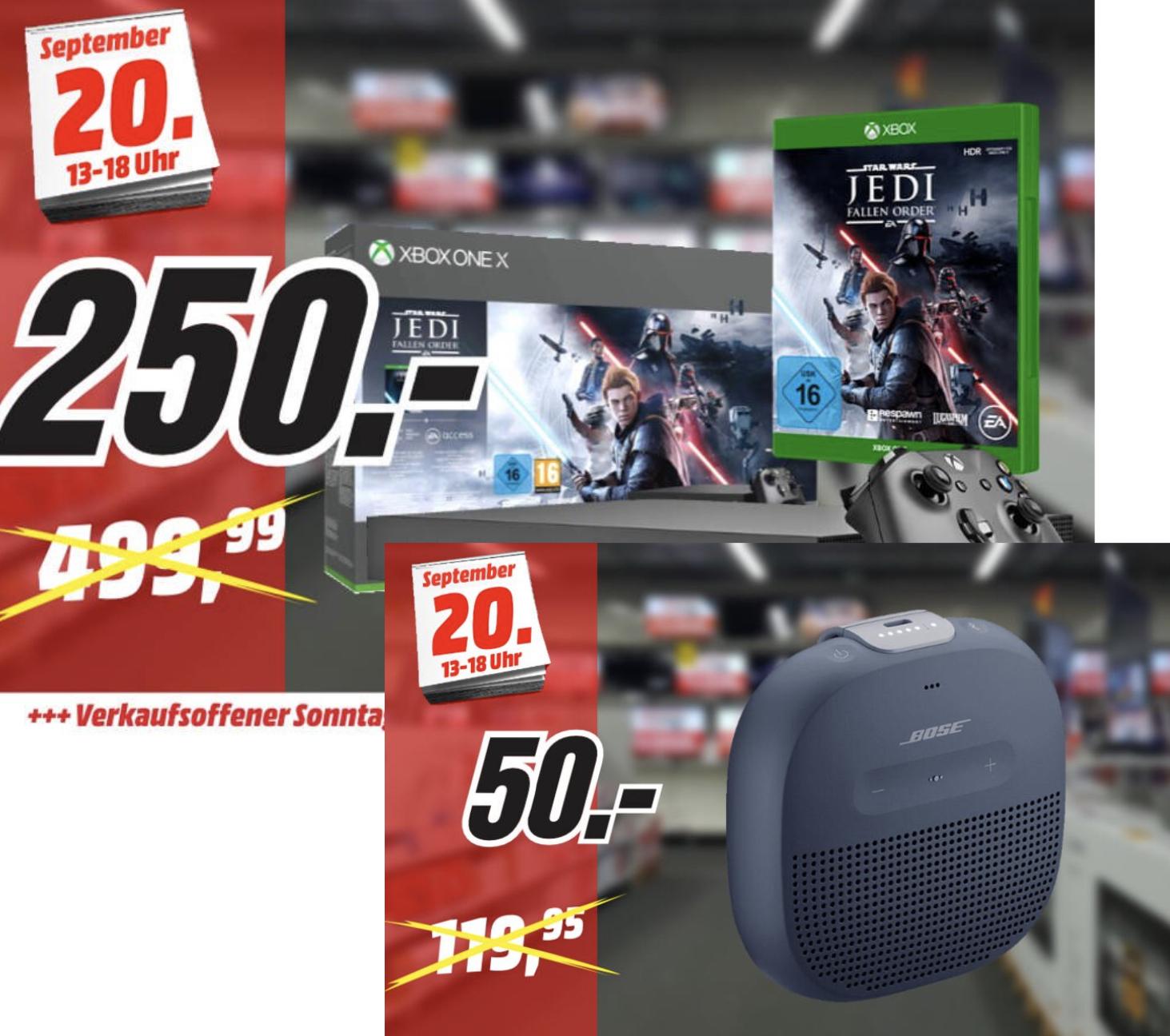 MediaMarkt Stade: Xbox One X Star Wars Bundle für 250€ / Bose SoundLink Micro für 50€ usw. am verkaufsoffenen Sonntag