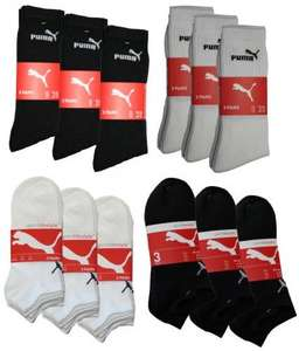 9x Puma Sportsocken oder Sneaker schwarz weiss mix 39-42 43-46 9 Paar