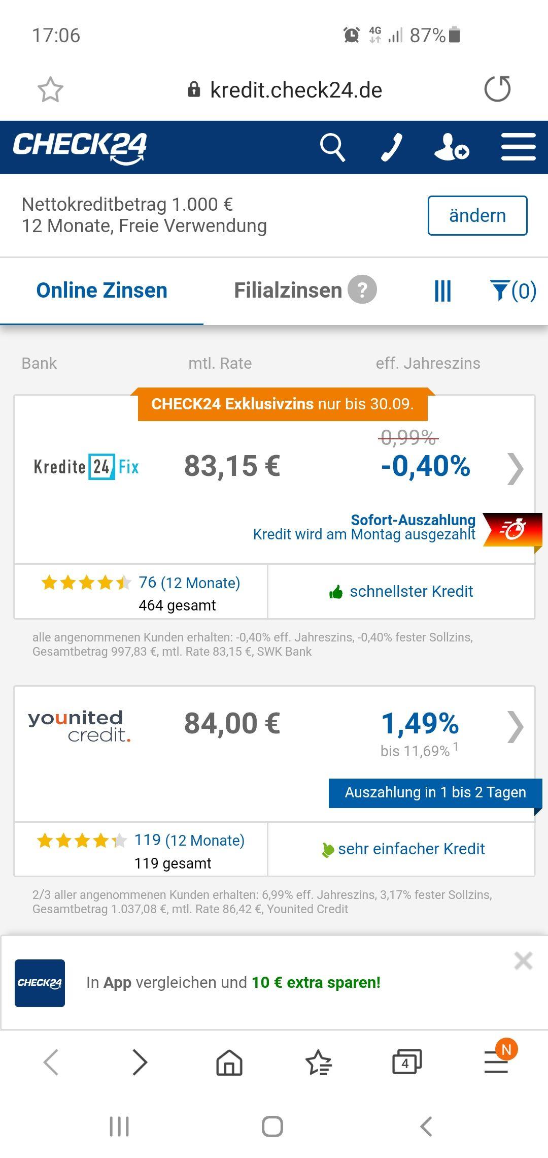 Kredit mit 0,4 % Negativzins Check 24/Kredit24fix