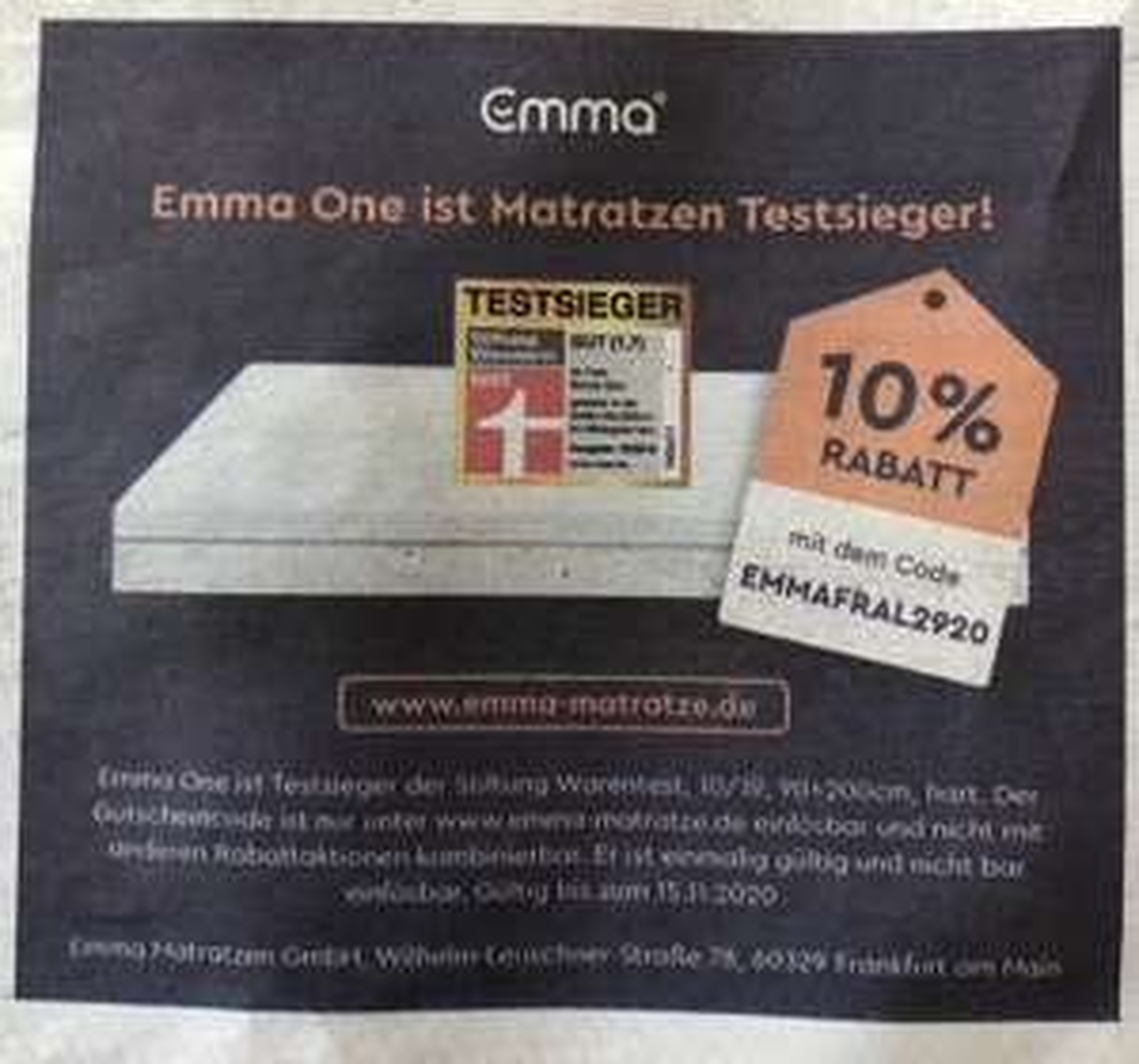 Emma One Matratze 10% Rabatt