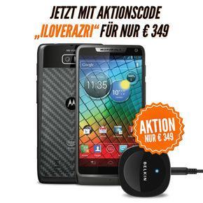 Motorola RAZR i schwarz inkl. Belkin Bluetooth Musik Empfänger für 349€ statt 388,90€