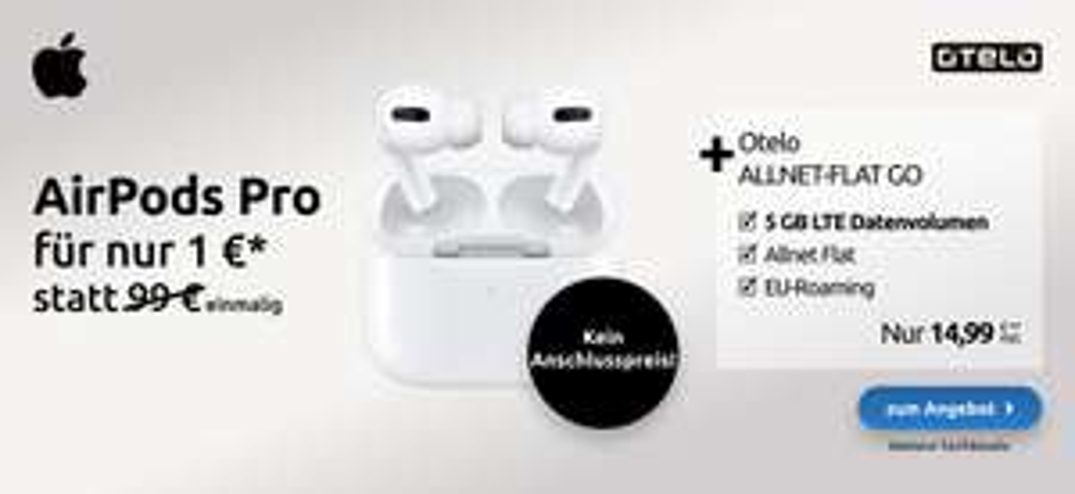 Apple Airpods Pro im Vodafone Otelo Allnet-Flat Go 5GB LTE für 1 € einmalig und 14,99€ monatlich