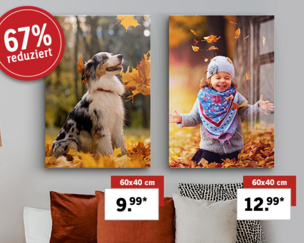 [Lidl Fotos] Eigenes Bild auf entweder Leinwand oder Acrylglas (je 60x40 cm) für 14,98€ bzw. 17,98€