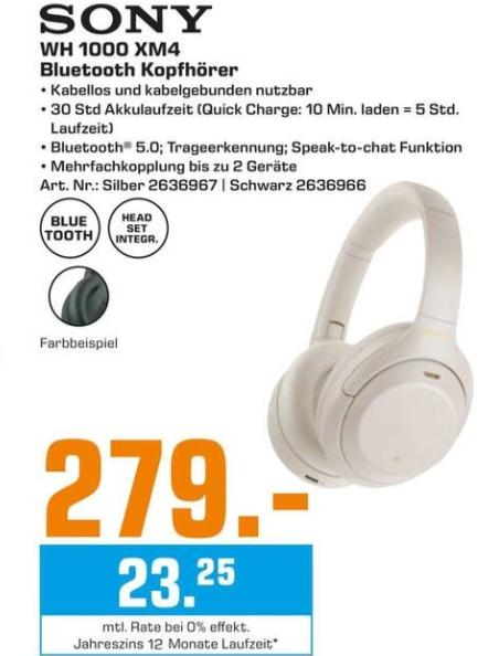 [Regional Saturn Hamburg-Altstadt] SONY WH-1000XM4 Noise Cancelling, Over-ear Kopfhörer Bluetooth für 279,-€