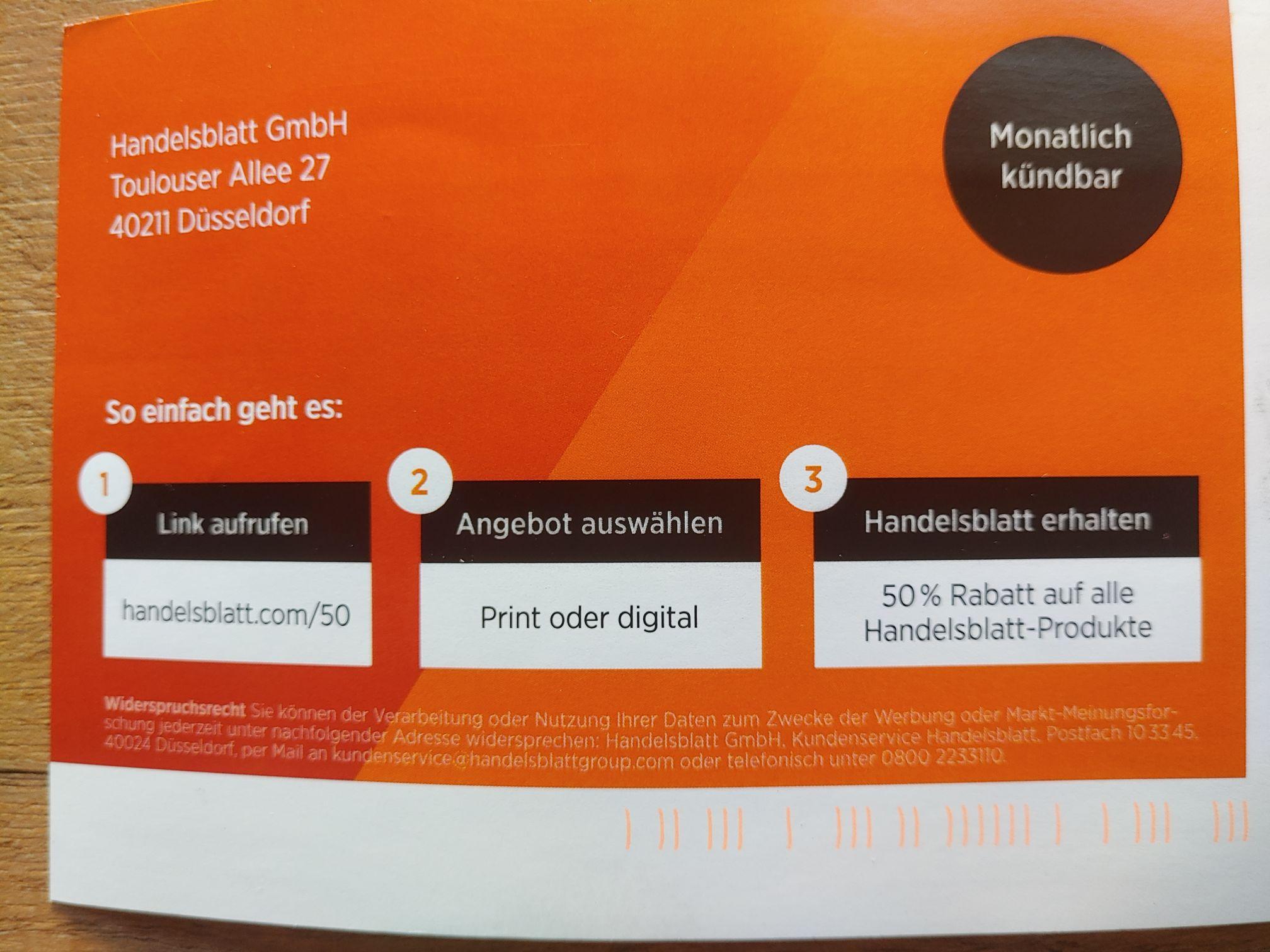 Handelsblatt online und Print für -50% [-75% für Studenten]