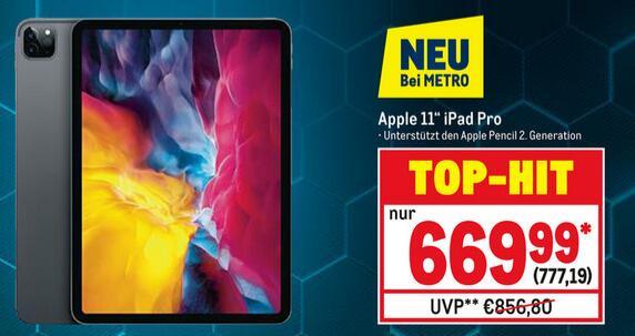 [Metro vom 01.10. - 14.10.] Apple iPad Pro 11 (2020) 128GB WiFi spacegrau für 777,19€ (Verein o. Gewerbe notwendig)