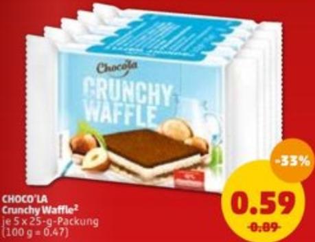 Choco'la Crunchy Waffle (Fake Knoppers) 5 x 25g für nur 0,58€ / weitere Leckereien (Penny)