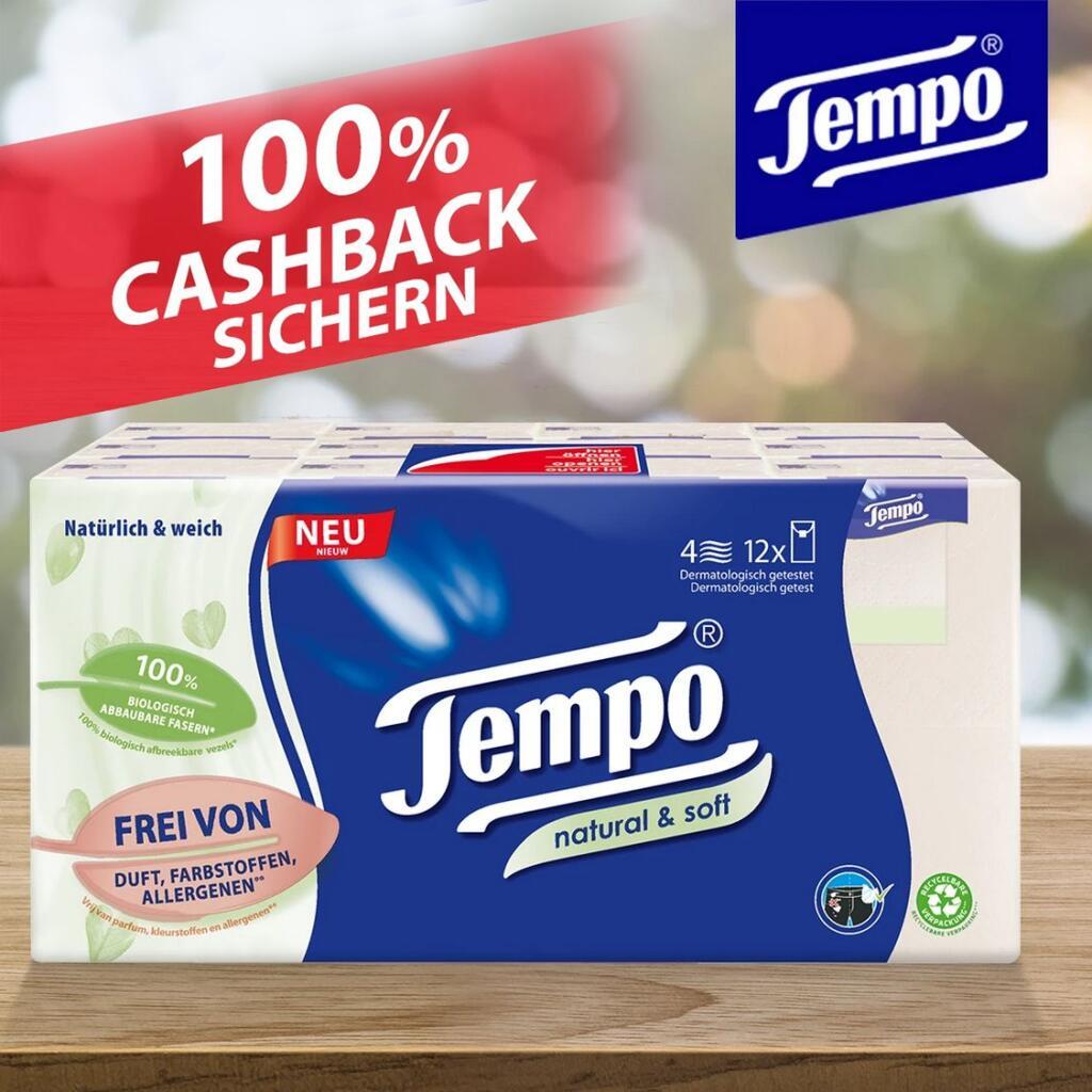 [marktguru - GzG] Kostenlos testen 100% Cashback auf Tempo natural & soft Taschentücher (Päckchen oder Boxen) - 6x Teilnahmen möglich