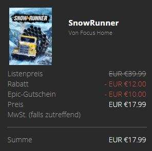 Snowrunner für 17,99€ bei Epic Games