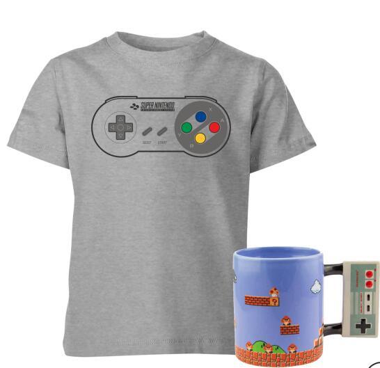 Kids Nintendo T-Shirt + Tasse: NES Controller Mug (Gr. 3 - 12 Jahre)