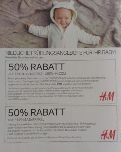 50% RABATT AUF EINEN BABYARTIKEL ÜBER HM.COM