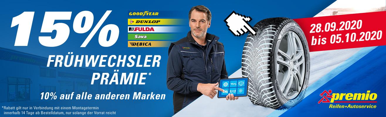Premio Reifen+Autoservice - 10-15% Rabatt auf alle Reifen!