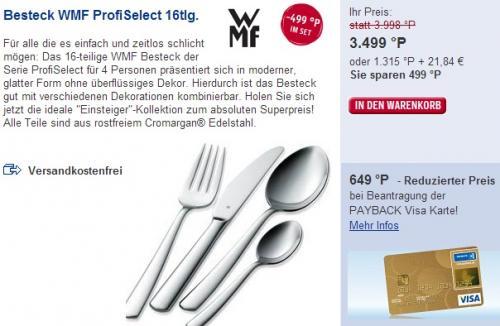 WMF ProfiSelect Besteckset 16-tlg. für € 34,99 bei Payback als Prämie