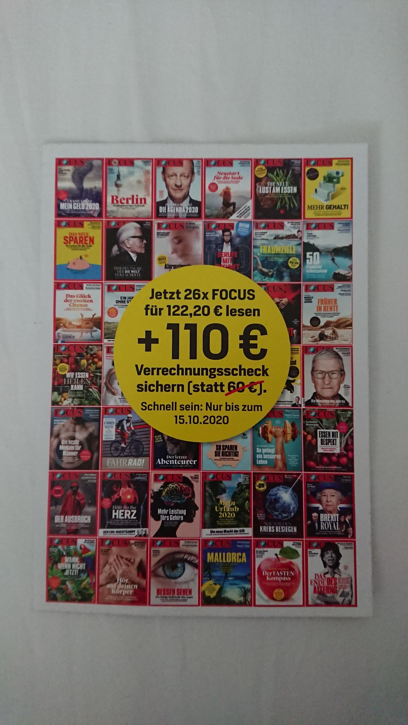 26x Focus (Print) mit 110€ Verrechnungsscheck