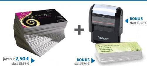 [Vistaprint] 250 Visitenkarten + BONUS 1 Gratis Stempel und 140 Adressaufkleber gratis für nur 2,50 Euro! Jetzt exklusiv für Kunden von o2