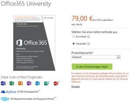 Office 365 University (Office 2013) für Studenten für 79€ bzw. 69€ durch Qipu