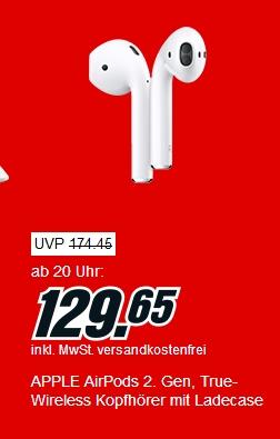 [Mediamarkt] Apple AirPods 2 (2019) für 119,65€ durch Nutzung des Newslettergutscheins