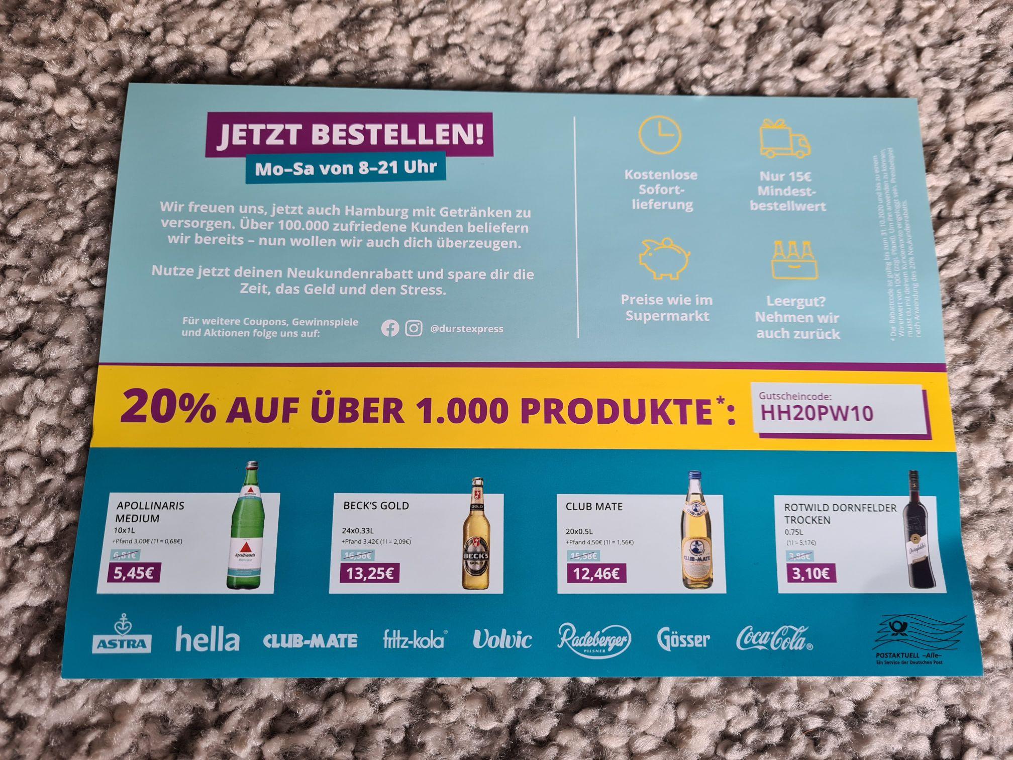 [LOKAL Hamburg? - Durstexpress] 20% Gutschein (Neukunden) auf Bestellungen bis 100€