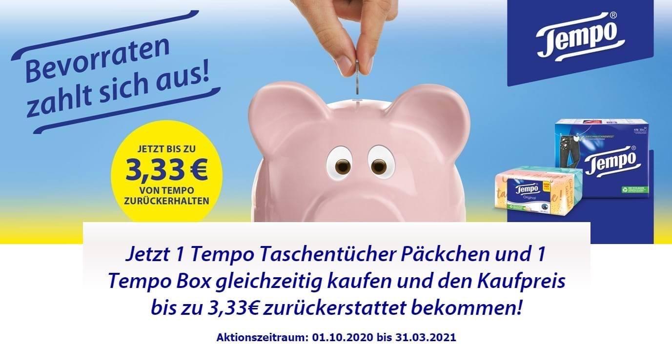 GzG - Tempo Taschentücher und Box kaufen, bis 3,33€ vom Kaufpreis zurückerhalten, gültig bis 31.03.2021