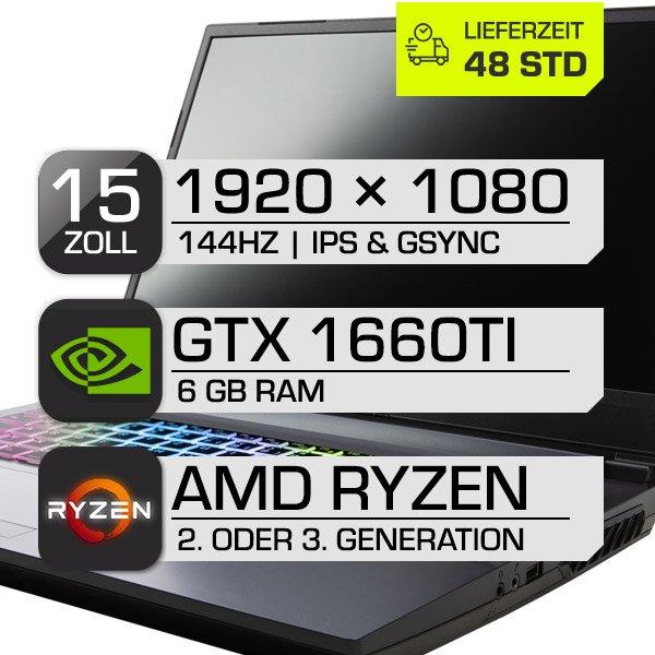 "Clevo NH50AC Notebook-Barebone - (15.6""-IPS FHD, 144Hz, AM4 bis 65W TDP, 2x DDR4, GTX 1660 Ti 6GB, 2x M.2, 1x 2.5"")"