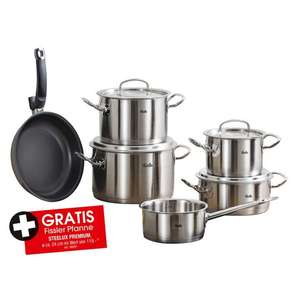 Töpfe-Knaller: Fissler Original Profi Collection 5tlg + Protect Steelux Premium Pfanne | Edelstahldeckel | Made in Germany | 6% Shoop