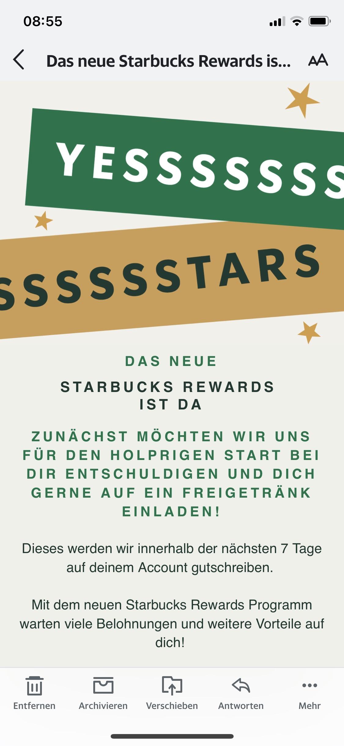 FREIGETRÄNK bei Starbucks für Mitglieder