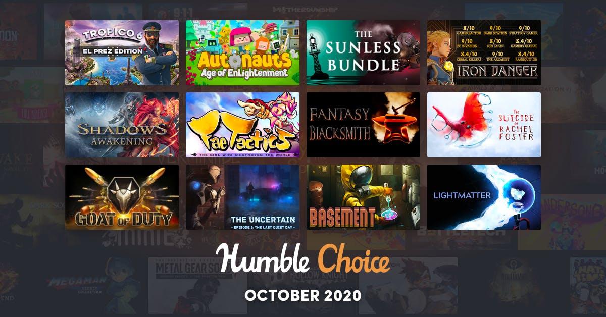 Humble Choice Oktober 2020 (12 Steam - Spiele, u.a. Tropico 6 El Prez- Edition)