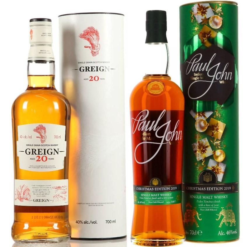 Whisky-Übersicht #50: z.B. Greign 20 Single Grain Whisky für 33,85€, Paul John Christmas Edition 2019 PX Cask für 43,85€ inkl. Versand