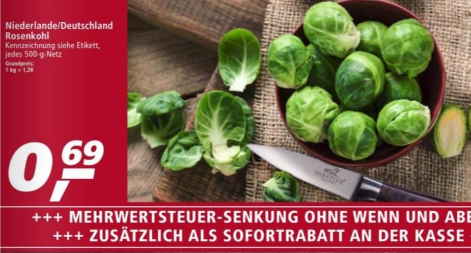 Rosenkohl 500g für nur 0,68€ bei real / Deutscher Wirsing 1Kg für nur 0,75€ bei Rewe