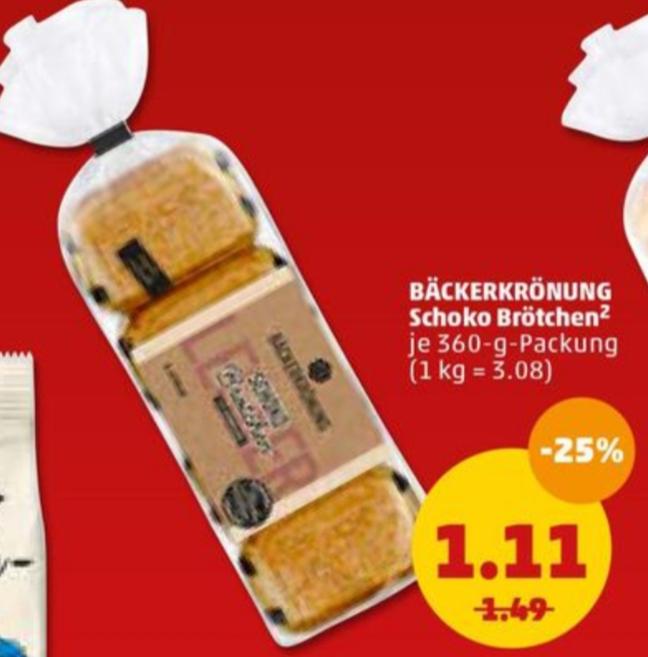 8 × Schoko Brötchen / 12 × Milch Brötchen für nur 1,11€ je Packung (Penny)