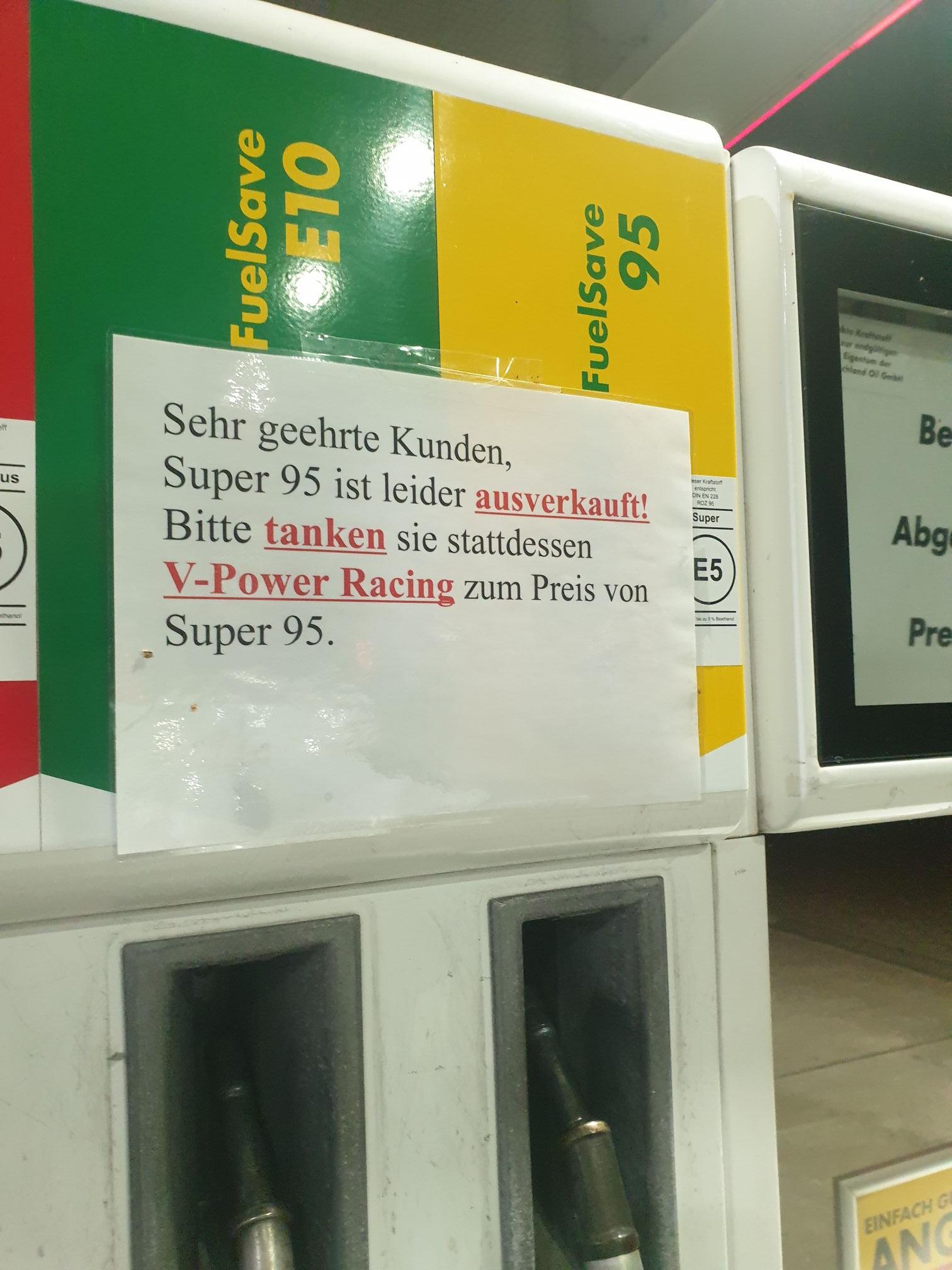 [lokal Hamburg] Shell V-Power Racing zum Preis von Super 95