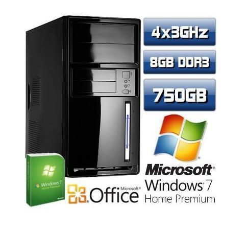 Für 299 EUR: PC Quad Core Computer AMD Phenom II X4 945 8GB 750GB Windows7 Premium 64