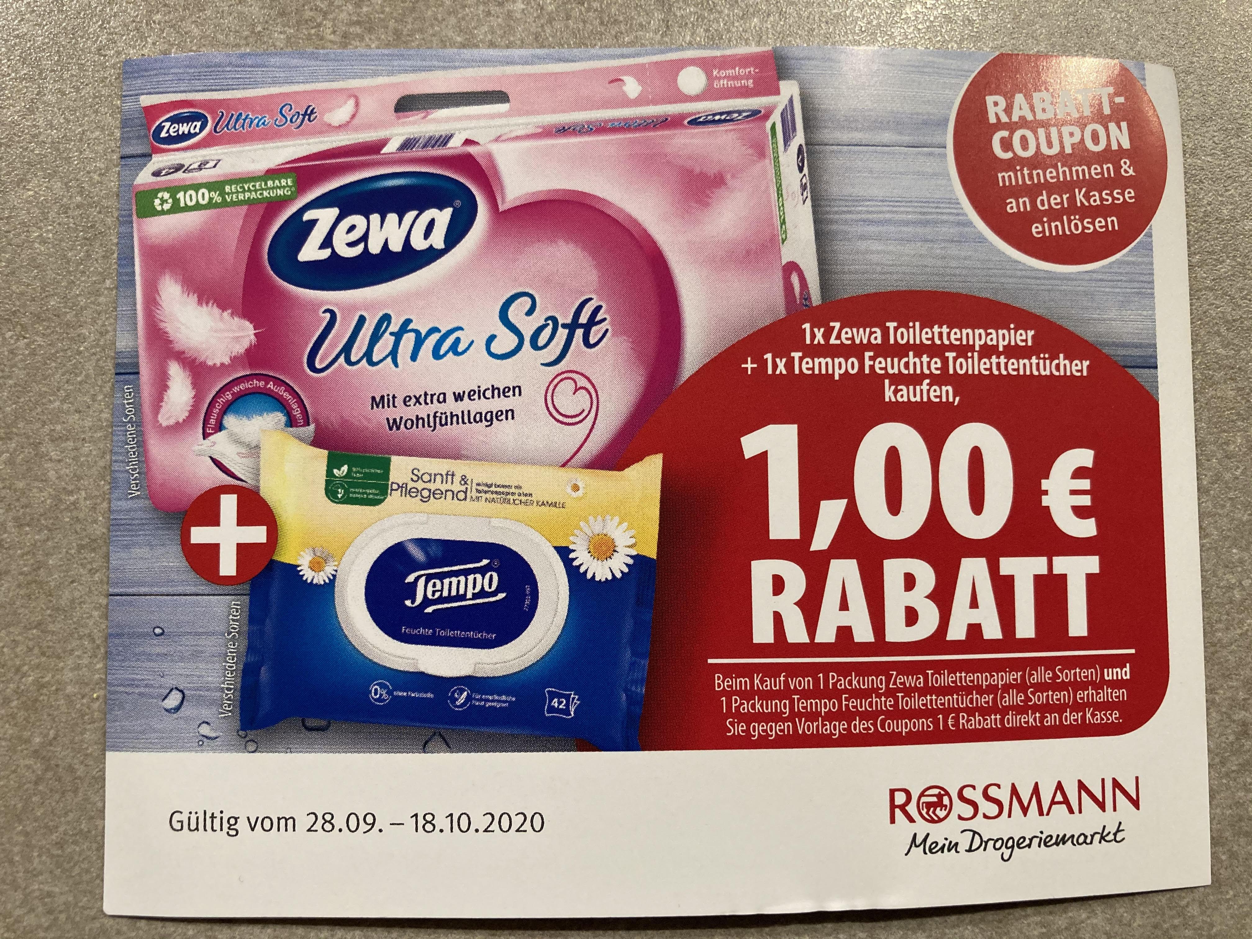 [Rossmann] 1x Zewa Toilettenpapier + 1x Tempo Feuchte Toilettentücher ab 1,89 €