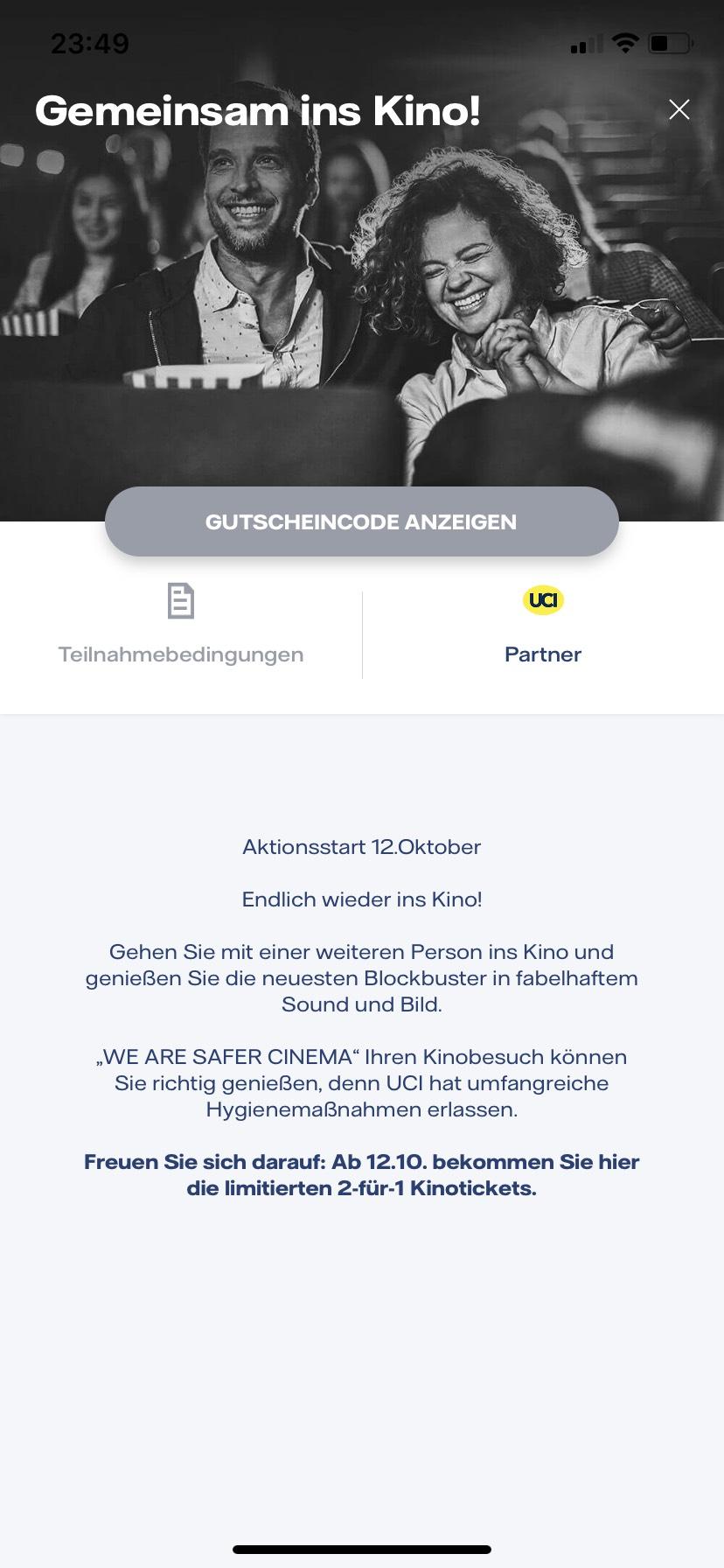 Vattenfall App 2 für 1 UCI-Kinogutscheine ab 12.10.