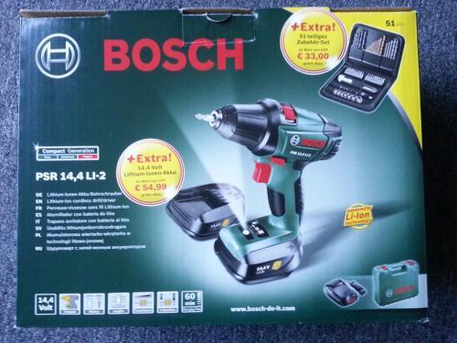 [offline bei Bauhaus] Bosch PSR 14,4 li-2 (neue, kurze Bauform) mit zweitem Akku und 51-teiligem Zubehörset mit 20€ Cashback