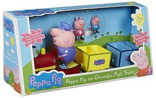 Peppa Pig, Peppas Zug mit 2 Waggons und drei Figuren, Netto mit Hund